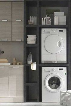 16 ideas apartment laundry closet organization washer and dryer for 2019 Laundry Room Layouts, Laundry Room Remodel, Small Laundry Rooms, Washer Dryer Closet, Laundry Dryer, Apartment Washer And Dryer, Laundry Hacks, Laundry Closet Organization, Laundry Room Organization