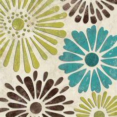 Cuadro Stencil Flowers I
