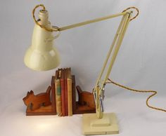 Original cream paint finish and lamp holder. Desk Lamp, Table Lamp, Anglepoise Lamp, Crazy Price, Cream Paint, Paint Finishes, Fabric Covered, Art Deco Fashion, 1950s