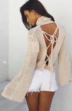 Cross Back Knit + Cut Offs                                                                             Source