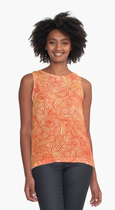 """Orange and red zentangles"" Contrast Tank by @savousepate on @redbubble #contrasttank #tanktop #clothing #apparel #pattern #drawing #abstract #modern #graphic #geometric #boho #doodles #zentangle #orange #yellow #red #autumncolors #fallcolors"