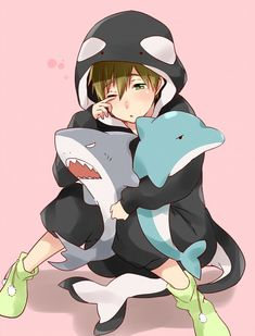 Free! ~~ Chibi Makoto Tachibana longs for his absent friends. But these stuffed toys will have to do for now. :: MaRinKa { aka: Makoto, Rin, Haruka }