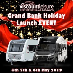🎉 🍾 LAUNCH EVENT 🍾🎉 to celebrate our new name for Viscount Caravans and Viscount Motorhomes on the 4th, 5th & 6th May 2019. Meet the team and find out more about our superb range of #Motorhomes, #Caravans, #Campervans & Camping Accessories. FREE Bacon Roll until midday! Cake Stand & Tombola in support of CLIC Sargent. Massive Discounts and Great Give-Aways across our ranges! #Southampton #Hampshire #BankHoliday Viscount Caravan, Bacon Roll, Used Motorhomes, New Names, Meet The Team, Bank Holiday, Camping Accessories, Caravans, Southampton