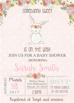 Bunny Baby Shower invitation Baby Girl Spring Rabbit Vintage