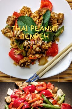 This Thai peanut tempeh with rice is a satisfying vegan meal with fresh veggies, peanut butter, and a little spice: all in 15 minutes! Vegetarian Entrees, Vegetarian Options, Whole Food Recipes, Snack Recipes, Dinner Recipes, Plant Diet, Vegetarian Main Course, Tempeh, Delicious Vegan Recipes