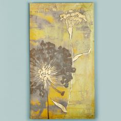 "36x20 Gilded Botanical Composition Stretched Canvas Wall Art This modern and sophisticated composition of botanical blooms features hand applied gold leaf accents to embellish the surface. The wispy dandelions dance on a watery layered background of gray, taupe and yellow in a diptych of two canvases that can be used together with a continuing scene or individually. (36""Hx20""Wx2""D)."