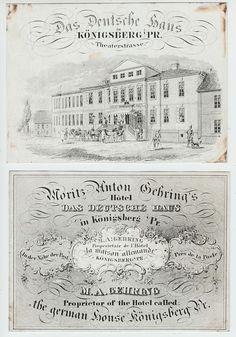 Königsberg, Hotel Das Deutsche Haus, 2 alte Werbekarten, keine AK