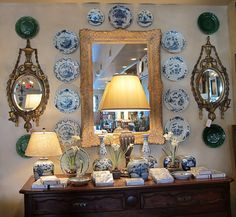 Blue and white plates.