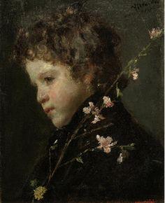 Profilo di bambino con fiori di pesco