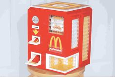 This vending machine, built entirely from LEGO pieces, will delight lovers of McDonald's chicken McNugget. The impressive machine is built. Lego Mcdonalds, Mcdonalds Chicken, Lego Machines, Vending Machines, Chocolate Coins, Chocolate Oatmeal, Lego Builder, Lego Mindstorms, Chicken Bites