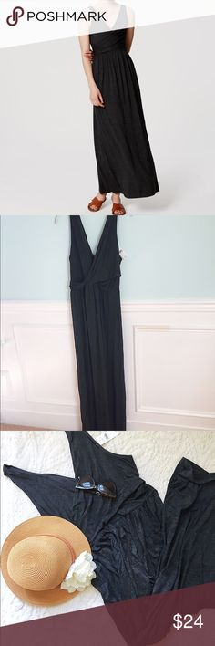 "LOFT ""Double V"" Maxi This is the essential Maxi!! Beautiful dark charcoal gray dress featuring a a low slung wrapped V neckline in the front and back and the softest most comfortable jersey knit material. The perfect travel dress as it stays wrinkle free! Brand new with tags and in perfect condition. Length: 55"" LOFT Dresses Maxi"