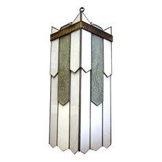 geometric art deco leaded glass chandelier - 1920s