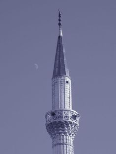 The two crescents and the Yalikavak Mosque.  Nikon's 'Cyanide' mode.