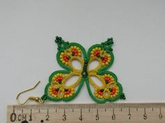 Yellow and green earrings Rainbow by TattingLaceJewellery on Etsy