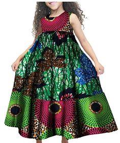 GAGA Little Girls African Print Casual A Line Cute Sleeveless Holiday Summer Dress - Ufumbuzi - Home African Dresses For Kids, African Maxi Dresses, Latest African Fashion Dresses, African Print Fashion, African Attire, African Wear, Summer Holiday Dresses, Summer Dresses, African Print Dress Designs