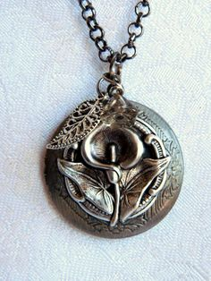Locket Calla Lily Locket Necklace Flower by SnowMountainDesigns, $25.00