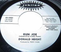 1963 45 Rpm Donald Height RUN JOE / SOUL MONKEY TWIST On Jubilee 5461 PROMO..