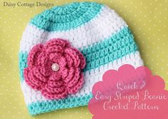 Striped Beanie Hat Pattern text by Daisy Cottage Designs, via Flickr