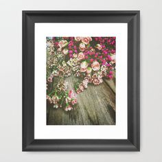 She Had a Spirit That Was Wild and Free Framed Art Print by Olivia Joy StClaire - $36.00 fine art print, flower photography, romantic art, home decor, cottage decor, rustic decor, farmhouse chic, roses, wax flowers, gray, pink, gift, mother's day, spring, summer, gardening, garden