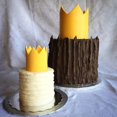 Where the Wild Things Are cake and smash cake. Made with buttercream, melting chocolate and a bright yellow fondant crown.