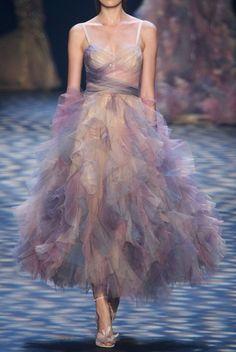 Marchesa SS2017 Sleeveless Cascading Ruffled Cocktail Dress