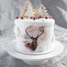 Cake with pine trees and painted deer Christmas Cake Decorations, Christmas Desserts, Christmas Cakes, Winter Christmas, Cupcakes, Cupcake Cakes, Beautiful Cakes, Amazing Cakes, Digger Cake