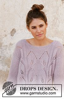 Free knitting patterns and crochet patterns by DROPS Design Leaf Knitting Pattern, Sweater Knitting Patterns, Knitting Designs, Knitting Projects, Crochet Patterns, Drops Design, Knitting Gauge, Free Knitting, Drops Kid Silk