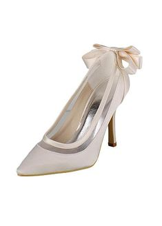 Elegant Satin Upper Closed Toe Stiletto Heels Bridal Shoes With Bowknot High Heel Pumps, Pointed Toe Heels, Stiletto Heels, Wedding Wedges, Bridal Wedding Shoes, Satin, Custom Shoes, Types Of Shoes, Shoe Collection