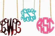 Acrylic Floating Monogram Pendant - I cannot express how bad I want one of these and how long I have wanted one Monogram Jewelry, Monogram Necklace, Monogram Initials, Marley Lily, For All Things Lovely, Preppy Girl, Gold And Silver Rings, Graduation Gifts, Pendant