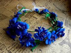 Dark Blue cornflowers floral crown bridal flower crown Blue wedding hair accessory Bridal headpiece Festival headband Rustic event handband by JewelryAjoureFlowers on Etsy