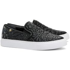Tory Burch Sela Slip-On Sneakers ($225) ❤ liked on Polyvore featuring shoes, sneakers, black, skater trainers, slip-on skate shoes, black sneakers, slip on skate shoes and black slip on sneakers