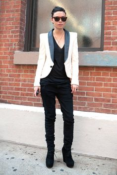 Elevate a pair of jeans and a t-shirt with a trim white tuxedo jacket.    - ELLE.com