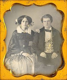 +~+~ Antique Photograph ~+~+   Young couple - it's interesting that she has quite a lot of jewelry on and a couple of rings on her right hand, but no wedding band on her left hand.