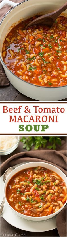 Beef and Tomato Macaroni Soup – this is total comfort food! Just like what Grand… Beef and Tomato Macaroni Soup – this is total comfort food! Just like what Grandma and Mom made but with more flavor! Chili Recipes, Mexican Food Recipes, Crockpot Recipes, Cooking Recipes, Casserole Recipes, Beef Broth Soup Recipes, Cooking Time, Delicious Recipes, Salad Recipes