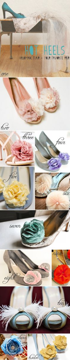 #shoes + #shoe-clips decorate bridesmaids shoes