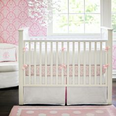 White Pique Crib Bedding in Pink