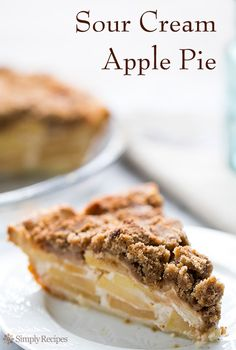 Absolutely delicious sour cream apple pie with a brown sugar, flour, and butter streusel topping. On SimplyRecipes.com