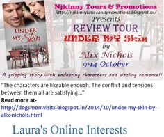 Read #BookReview #UnderMySkin by @Aalix_Nichols on @DogsMomLaura's blog http://dogsmomvisits.blogspot.in/2014/10/under-my-skin-by-alix-nichols.html ALso Enter #Giveaways to win!  #ReviewTour #Romance