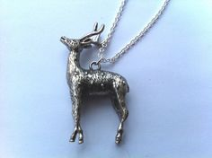 Silver Awesome Deer Charm Pendant Necklace by ameliadoneup on Etsy, $27.00