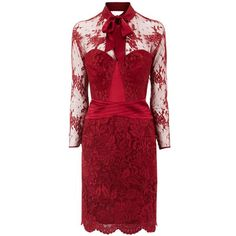 Long Sleeve Lace Dress Red