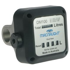"Macnaught 1"" Oval Gear  DM100 4 digit Oval gear meter. 3-80L/min. 1"" BSPF ports. 4 digit register and 6 digit totaliser.  • Only suitable with diesel, biodiesel, ethanol, methanol & oils up to 1000 cps. Oval gear meter shows up to 999.9 litres • Max. pressure 145 psi (10 bar). • Accuracy +/- 1%. Low flow resistance. • Aluminium body. Supplied with a mesh strainer. • Front face can be rotated in 90 degree increments. • Max. temperature 80°C (176°F)."