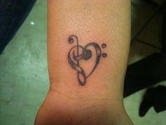 musical heart tatoo
