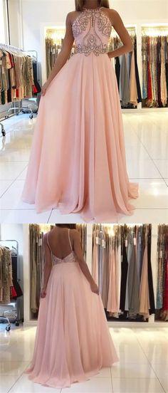 elegant pink chiffon halter prom dress with beading, fashion a-line pink chiffon keyhole party dress with beading
