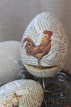 keittiö,Tee itse - DIY,pääsiäinen,pääsiäiskoriste,pääsiäismuna,pääsiäisaskartelu,kukko,kiiltokuva,sanomalehti