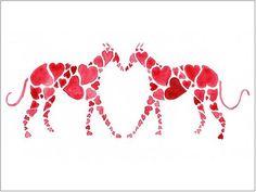 Greyhound Art Prints - 'Greyhound Love' - Size & Mounting Options #greyhound lovers