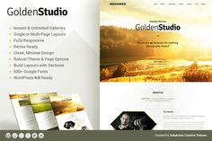 Golden Studio - WordPress Theme Themes Golden Studio is a great choice to showcase your portfolio of designs and images. If you're a design by SubatomicCreative Business Brochure, Business Card Logo, Restaurant Themes, Page Layout, Layouts, Photography Themes, Themes Themes, Wordpress Template, Pencil Illustration
