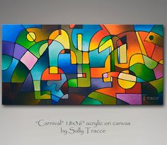 Abstract geometric modern acrylic painting by SallyTraceFineArt