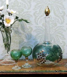 Dolls House Miniature Glass Decanter with Glasses 1:12 Scale