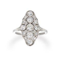 An Edwardian diamond panel ring - Bentley & Skinner