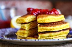 Lemon Cornmeal Pancakes--  We had to thicken the batter a little; then topped ours with blueberries.